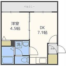 フラットJ澄川[1階]の間取り