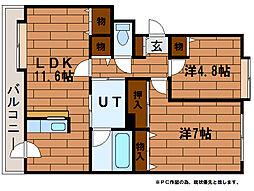 ドミ中の沢中央 2階2LDKの間取り