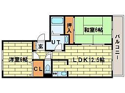 コーポ楡I[1階]の間取り