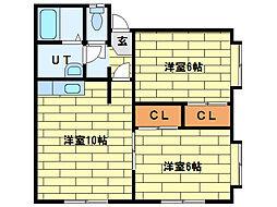 リバーサイドハイツ(西岡)[2階]の間取り