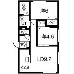 エル澄川 3階2LDKの間取り