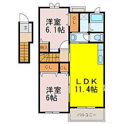 プラシードIII番館 2階2LDKの間取り