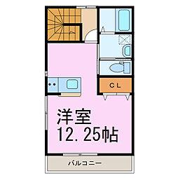 東武伊勢崎線 羽生駅 徒歩2分の賃貸アパート 2階ワンルームの間取り