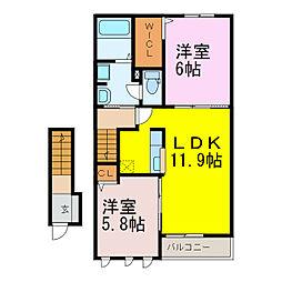 エトワール 1階2LDKの間取り