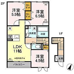 JR東北本線 古河駅 15kmの賃貸アパート 2階3LDKの間取り
