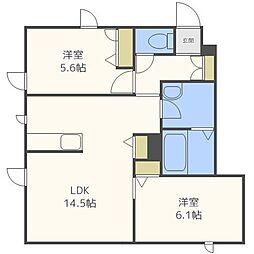 北海道札幌市中央区南十八条西13丁目の賃貸アパートの間取り