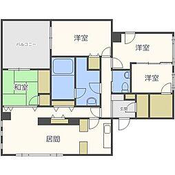 北海道札幌市中央区南六条西20丁目の賃貸マンションの間取り