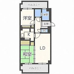 北海道札幌市中央区南十四条西13丁目の賃貸マンションの間取り