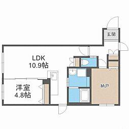 CITY RESIDENCE幌平橋 2階1SLDKの間取り