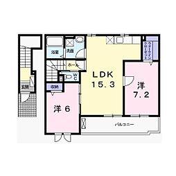 兵庫県姫路市北原の賃貸アパートの間取り