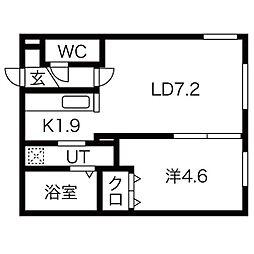 Y's札幌 ワイズ札幌 3階1LDKの間取り
