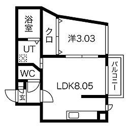 アネトス2番館 2階1DKの間取り