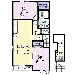 サン カスターニャI 2階2LDKの間取り