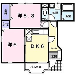 セイバリーコートII 1階2DKの間取り