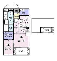 エクストラ ステージ I 2階1DKの間取り