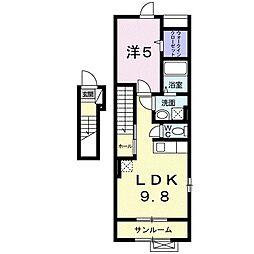 ヴィラローレル清住 2階1DKの間取り