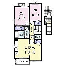 フィオーレ・芦刈I 2階2LDKの間取り