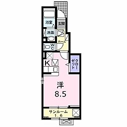 トロワ・エトワール 1階1Kの間取り