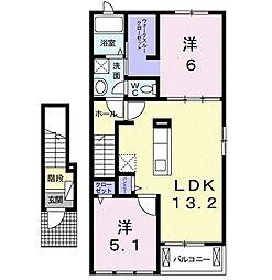 リリーガーデン 2階2LDKの間取り