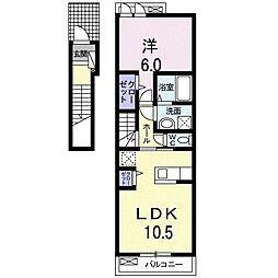 プランド-ル ソフィアA 2階1LDKの間取り