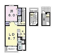 カーサ ブリュ B 3階1LDKの間取り