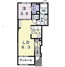 JR仙山線 愛子駅 徒歩22分の賃貸アパート 1階1LDKの間取り