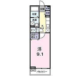 メゾン尾崎 2階1Kの間取り