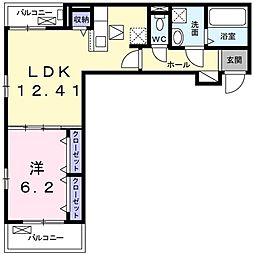 Grisaille 1階1LDKの間取り