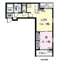 シャローム応仁 3階1LDKの間取り