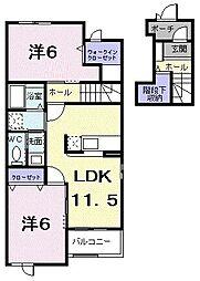 マミーハウス A 2階2LDKの間取り