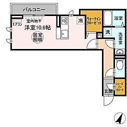 (仮)おおたかの森北1丁目PJ 2階ワンルームの間取り