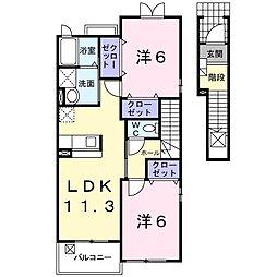 メゾンクレール壱番館 2階2LDKの間取り