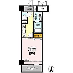 小田急小田原線 小田原駅 徒歩10分の賃貸マンション 3階1Kの間取り