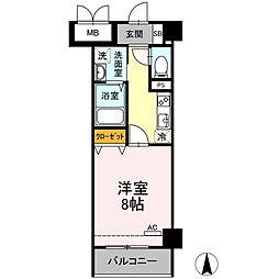 小田急小田原線 小田原駅 徒歩10分の賃貸マンション 5階1Kの間取り