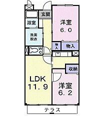 サニーヒル仙台南 1階2LDKの間取り