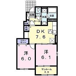 プランドールIII 1階2DKの間取り