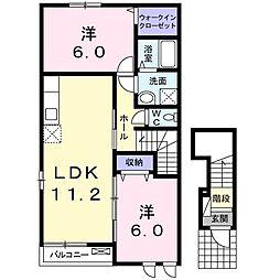 ロンドベルA 2階2LDKの間取り