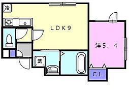 CANAAN黄金南I 1階1DKの間取り