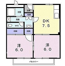 コスモ狭山 2階2DKの間取り