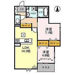 北大阪急行電鉄 桃山台駅 バス12分 阪急バス 熊野町西下車 徒歩3分の賃貸アパート 1階2LDKの間取り