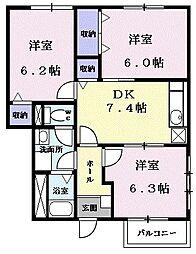 イースト丸亀 D 1階3DKの間取り