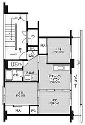 ビレッジハウス小名浜2号棟 3階2LDKの間取り