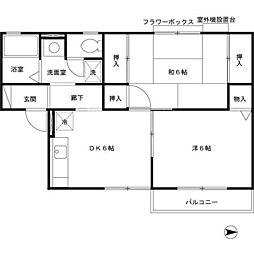 JR桜井線 天理駅 徒歩18分の賃貸アパート 2階2DKの間取り