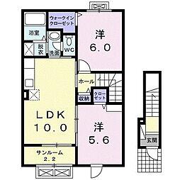 ロハス 2階2LDKの間取り