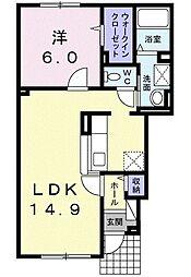 ソレイユes 1階1LDKの間取り
