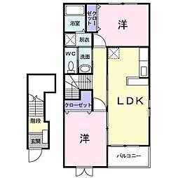 アルカンシェル・K 2階2LDKの間取り