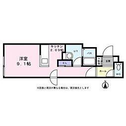 札幌市営南北線 平岸駅 徒歩6分の賃貸マンション 3階1Kの間取り