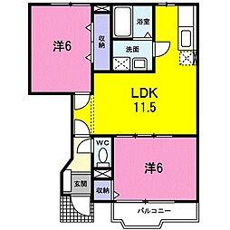 クレストールA 1階2LDKの間取り