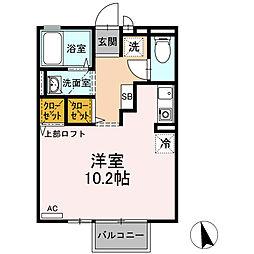ハウス・クレール 2階ワンルームの間取り