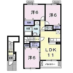 ロイヤルモーメントII 2階3LDKの間取り